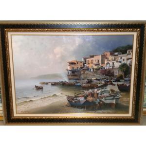 絵画 油絵 コルッチ 作 マッサルブレンセ イタリア風景画 インテリア|dipint
