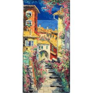絵画 油絵 マルコ 作 イタリアの街・海へ向かう路地 風景画 インテリア|dipint