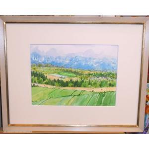 絵画 水彩画 横尾武之 作 「十勝の風景(北海道)」 風景画 インテリア|dipint