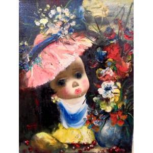 (定価100,000円)人物画 絵画 油絵 サンティ(フランス) 作 モンマルトルの子供  ヨーロッパ絵画 dipint