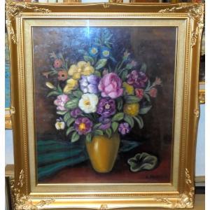 (定価80,000円) 花の油絵 絵画 パリシス(フランス) 作 「花」10号サイズ インテリア|dipint