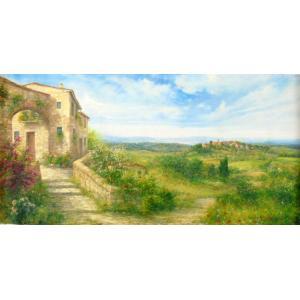 (定価1,000,000円)風景油絵 絵画 バラーロ 作 「イタリア・トスカーナの自然と古い建物」 インテリア|dipint