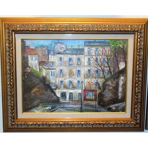 インテリア 風景絵画 油絵 小澤勇寿郎 作 パリの街角 10号サイズ リビング|dipint