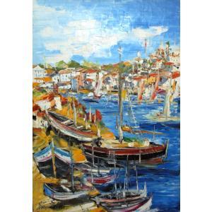油絵 絵画 マルコ 作 イタリア風景 「ボートと街並」 インテリア リビング|dipint
