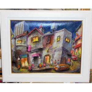 絵画 東京の夜の街 P10号油絵 諸岡理 作 「東京の夜」 インテリア モダン|dipint