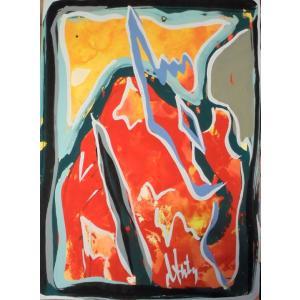 絵画 ダンティー(フランス) 作 「抽象」 風景画 インテリア リビング 画材ガッシュ|dipint