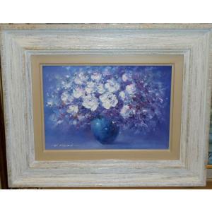 絵画 花の油絵 堀哲夫 作 白い花 SMサイズ静物画 贈り物|dipint