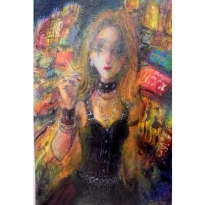 絵画 東京の夜の街 8号油絵 諸岡理 作 「東京の夜」 インテリア モダン|dipint