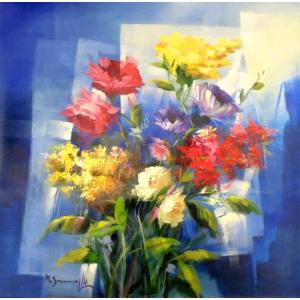 (定価300,000円)絵画 モダン油絵 マリオ(イタリア)「花」抽象 静物 インテリア リビング|dipint