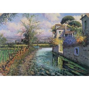 絵画 油絵 エズポジート(イタリア) 「トスカーナ郊外」 イタリア風景 インテリア dipint