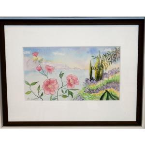 絵画 水彩 ブリジット(フランス) 「プロヴァンス風景」 インテリア 玄関|dipint