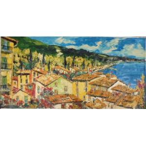 絵画 油絵 マルコ 作 イタリア・湖沿いの家並 風景画 インテリア|dipint