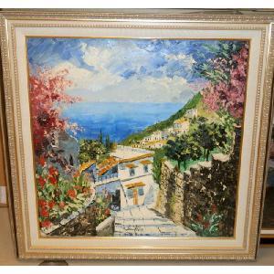(定価400,000円)新築祝い 大型油絵 絵画 マルコ 作 イタリア・アマルフィ海岸 インテリア|dipint