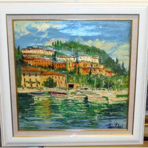 (定価200,000円)油絵 絵画 マルコ 作 港沿いの小さなボート イタリア風景画 リビング インテリア|dipint