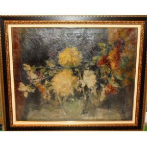 (定価250,000円)花の絵画 油絵 イシュトヴァーン(ハンガリー) 作 花 静物画 インテリア 大型サイズ|dipint