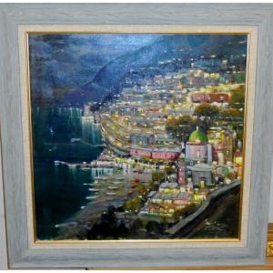 (定価180,000円)絵画 油絵 サンゾネ(イタリア) 「アマルフィの夜景」 風景画 インテリア|dipint