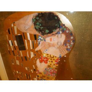クリムト ザ・キス シルクスクリーン版画 リビング インテリア絵画|dipint|04