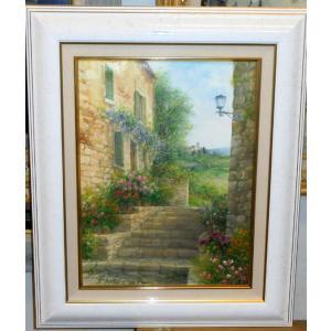 風景油絵 絵画 バラーロ 作 「イタリア・トスカーナ風景」 インテリア|dipint