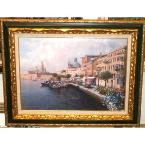 絵画 油絵 コルッチ 作 ベネチア イタリア風景画 インテリア|dipint