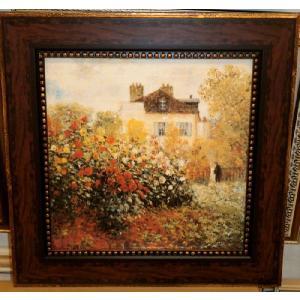 モネ 庭園のアーティスト 名画 立体複製画 絵画 55cm×55cm インテリア|dipint