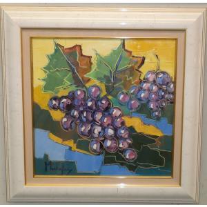 (定価70,000円)絵画 油絵 マンドラ(フランス) 「ぶどう」 静物 花 インテリア|dipint