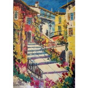 油絵 インテリア絵画 マルコ 作 イタリア風景 「黄色い家並と階段」 リビングサイズ dipint