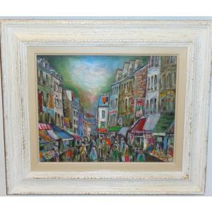 パリ風景絵画 油絵 小澤勇寿郎 作 ムフタール市場 3号サイズ インテリア|dipint