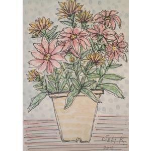 花の絵画 水彩画 加藤世紀 作 「セレニティー」 リビング インテリア|dipint