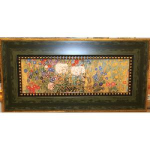 クリムト サンフラワー 名画絵画 立体複製画 30cm×60cm インテリア 玄関|dipint