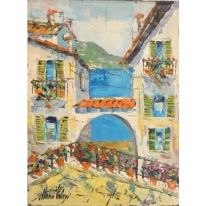 油絵 絵画 マルコ 作 イタリア風景 「アーチから見える海の眺め」 インテリア リビング|dipint