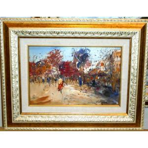(定価220,000円)フランス風景 絵画 油絵 セレク 作 「パリの街」 風景画 インテリア|dipint