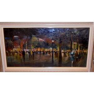 (定価240,000円) イタリア絵画 油絵 アプライル(イタリア)「アマルフィ」 風景画 インテリア|dipint