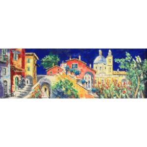 油絵 絵画 マルコ 作 イタリア風景 「教会のある風景」 インテリア リビング|dipint
