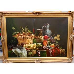 (定価150,000円)絵画 インテリア ネルソン(イギリス)「静物」 30号サイズ静物画 油絵|dipint