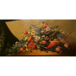 絵画 油絵 ダミアン(フランス) 「花」 静物 インテリア 玄関 dipint