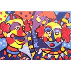 (定価400,000円)人物画 絵画 油絵 ミクローシュ(ハンガリー) 作 ピエロ ヨーロッパ dipint