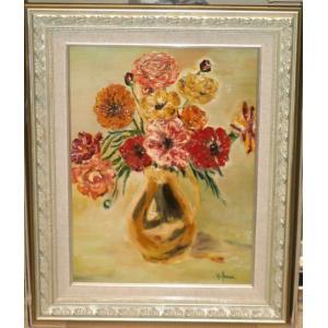 絵画 油絵 ルフラン(フランス) 「花」 インテリア 玄関 リビング dipint
