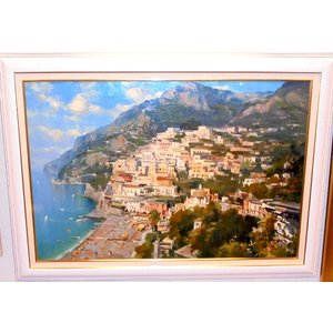 (定価1,000,000円) イタリア絵画 油絵 アプライル(イタリア)「アマルフィ」 大型風景画 インテリア|dipint