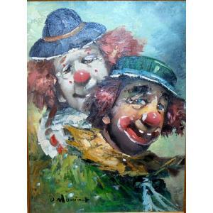 (定価100,000円)人物画 絵画 油絵 モニネット(アメリカ) 作 ピエロ  ヨーロッパ dipint