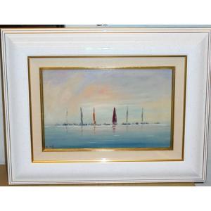 絵画 油絵 パスカル(フランス) 「ブルターニュのヨット」 風景画 インテリア|dipint