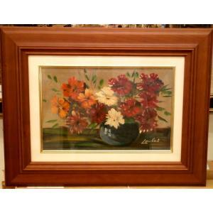 絵画 油絵 ランベルト(フランス) 「花」 静物 インテリア リビング dipint