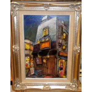 東京風景 絵画 油絵 P6号 諸岡理 作 「東京の夜」 インテリア モダン|dipint