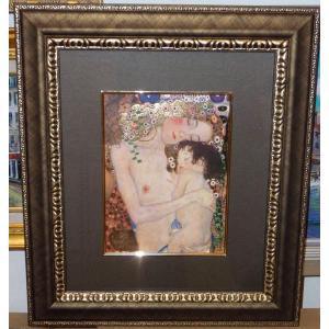 クリムト 人生の三段階 名画 ジグレ版画 絵画 額41cm×47cm|dipint