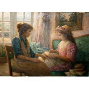 絵画 油絵 ラファエル(イタリア) 「刺繍」 人物 インテリア 玄関|dipint