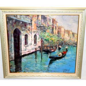 (定価600,000円) 風景油絵 絵画 カンザネッラ 作 「イタリア風景・ベネチアの運河」インテリア|dipint