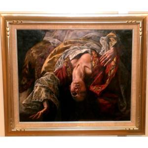 絵画 油絵 ストリーノ  ブロケード生地とレース  イタリア人物画 インテリア|dipint