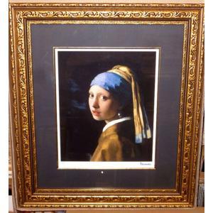 フェルメール 青いターバンの少女 名画絵画 ジグレ版画 47cm×54cm インテリア|dipint