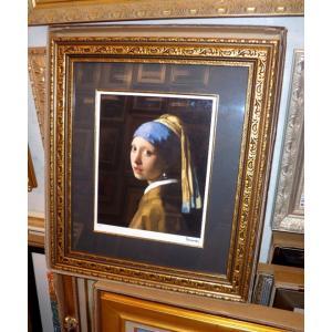 フェルメール 青いターバンの少女 名画絵画 ジグレ版画 47cm×54cm インテリア dipint 02
