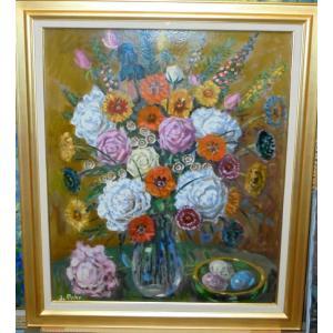 (定価280,000円)花の絵画 インテリア ジャック(アメリカ)「花」 静物画 大型油絵|dipint