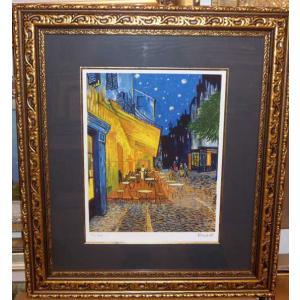 ゴッホ 夜のカフェテラス 名画絵画 ジグレ版画 47cm×54cm 壁掛けインテリア|dipint